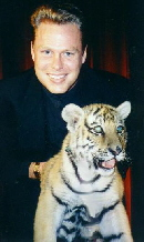 Los Angeles Magician Brock Edwards with his tiger